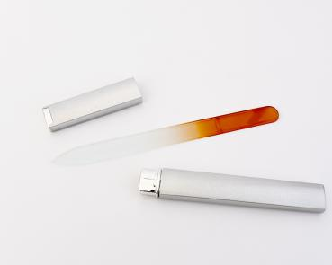 "Glasfeile · die ""Lange"" · orange · silbernes Etui"